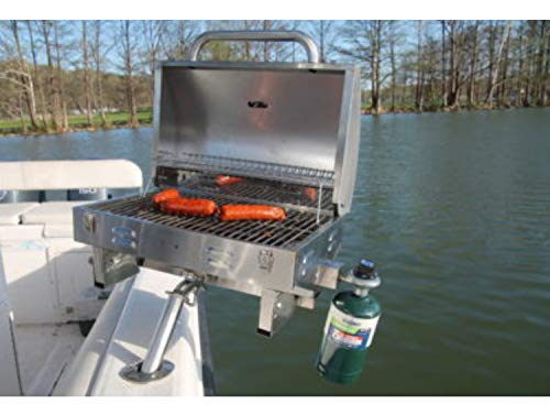Boat Grill with Mount - Portable Propane Gas BBQ - Grills Secure into Rod Holder | Adjustable Legs for Table Top Use | Stainless Steel Marine Stove -Great Outdoor Barbecue