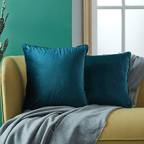 Topfinel 2pcs Housse Coussin Bleu Foncé 40x40 en Velours Doux Couleur Uni Coussins Decoratifs pour Canapes Salon Moderne Lit Voiture