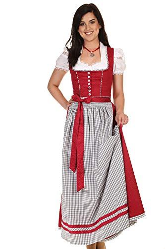 Turi Landhausmode Damen Dirndl lang klassisches Dirndl Baumwolle D821070 Heidi Rocklänge 95cm rot Gr.42