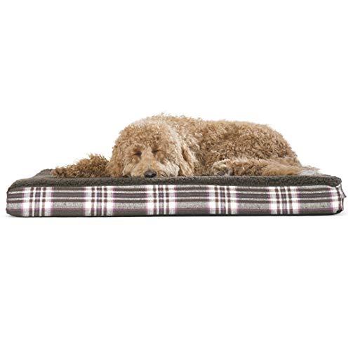 FurHaven Cama para Perro   Deluxe ortopédica de Felpa Kilim colchón Cama para Mascotas para Perros y Gatos, Espuma ortopédica, Marrón (Java Brown), Large