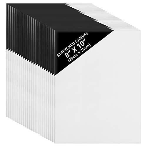 Set Lienzos 24 Piezas - Set Lienzos para Arte Montados en Marco Resistente - Panel de Lienzo para Pintar por Kurtzy ? Lienzo en Blanco para Obras de Arte - Marcos Estirados - Lienzo para Pintar