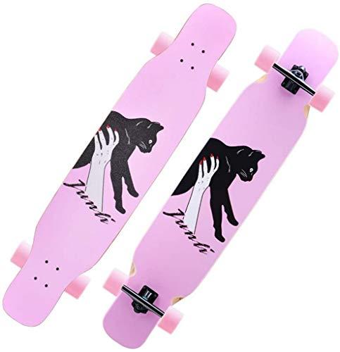 YLLN Longboard Skateboard Adult Maple Tabla Completa Drop-Through Freeride Patinaje Cruiser Tablas Unisex, con rodamientos ABEC de Alta Velocidad, T-Tool, Mochila de Skate, Flash