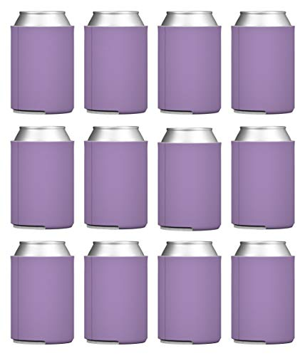 TahoeBay Blank Beer Can Coolers, Plain Bulk Collapsible Soda Cover Coolies, DIY Personalized Sublimation Sleeves for Weddings, Bachelorette Parties, Funny HTV Party Favors (Lavender, 12)