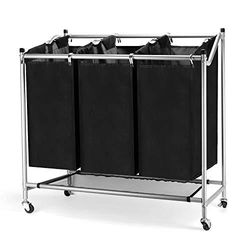 BPT Wäschesortierer 3 Fächer, Wäschekorb, Wäschesammler mit 3 abnehmbaren Stofftaschen, Wäschebehälter auf Rollen, Wäschebox