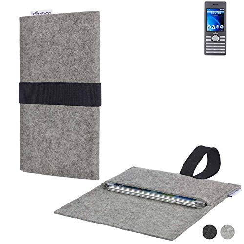 flat.design Handy Hülle Aveiro für Kazam Life B6 passgenau Handytasche Filz Tasche Etui Case fair schwarz hellgrau