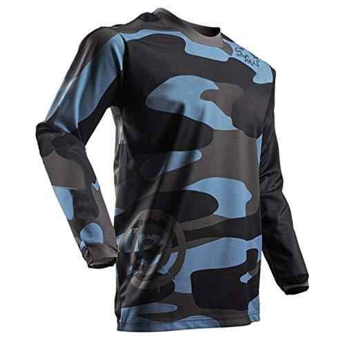 Herren Mountainbike MTB Top Langarm Atmungsaktiv Bequem Weich Feuchtigkeitstransport Radtrikot,Camouflage,L