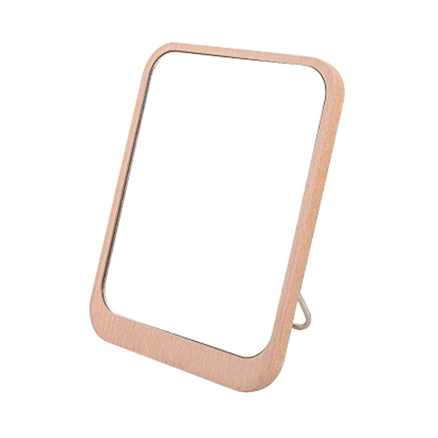 石習字示す木製の化粧鏡バニティミラー美容ミラーデスクトップ高精細片面デスクトップミラー折りたたみポータブル