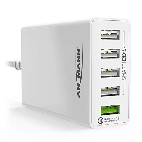 ANSMANN 5-Port USB Ladegerät 50W - Quick Charge 3.0 Ladegerät mit intelligenter Ladesteuerung für Handy, Smartphone, Tablet, GoPro, Raspberry Pi, e-book Reader, Fahrradlicht Charger