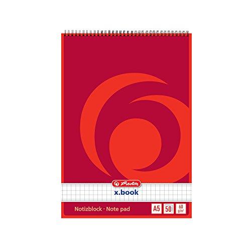 Herlitz 110536 Spiralnotizblock A5, 50 Blatt 10 Stück