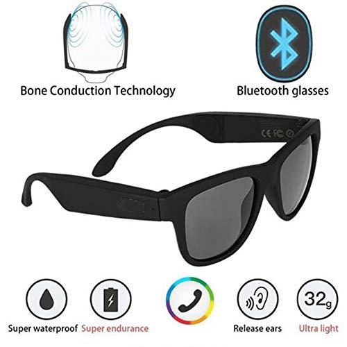 GLASSES Polarisierte Sonnenbrille Bluetooth Knochenleitungs-Headset Intelligente Brille Gesundheit Sport Drahtlose Kopfhörer und Mikrofon,Black