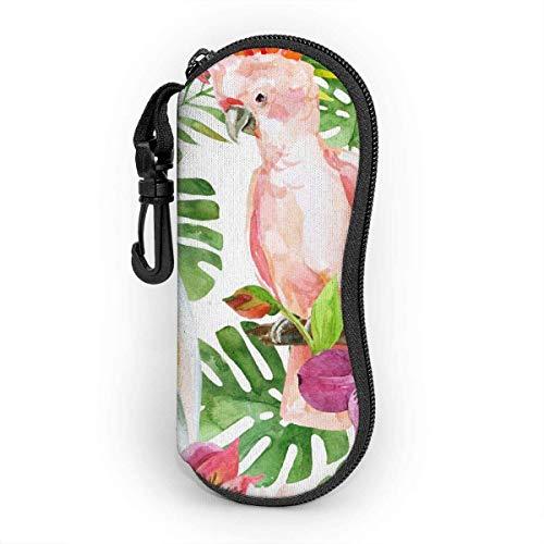 Cacatúa australiana de acuarela con fondo de flores, estuche para gafas que protege y almacena gafas de sol, anteojos de lectura y la mayoría de las gafas, adecuado para hombres, mujeres y niños