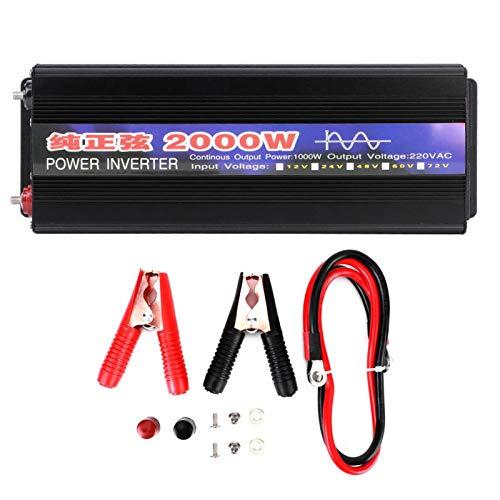 Inversor de corriente de 2000 W Power Pure Sinusoidal antiinterferencias transformador de voltaje de alta resistencia para el hogar del coche (CC 12 V a AC220 V)