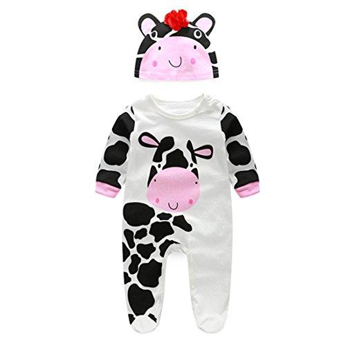 kingko® 1Réglez Newborn Infant Bébés garçons filles manches longues Romper + chapeau Jumpsuit Bodysuit Vêtements Outfit (24M, blanc)