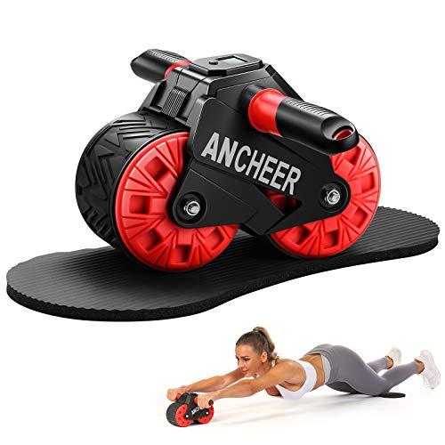 ANCHEER Rodillo abdominal AB Wheel Roller con rodilleras y pantalla inteligente, Fitness Ab Carver Pro Roller con rebote automático