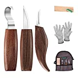 Maxesla Wood Carving Tools 6 in 1 Set - Includes Carving Hook Knife, Wood Whittling Knife, Chip Carving Knife, Carving Knife Sharpener, Gifts for Mens,Mens Hand Tools