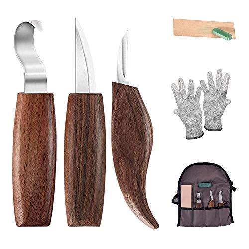 Maxesla 01 FAGORY-Juego Madera 6 en 1 – Incluye Gancho Cortar virutas, Guantes, afilador de Cuchillos de tallar, Herramientas para carpintería para Principiantes