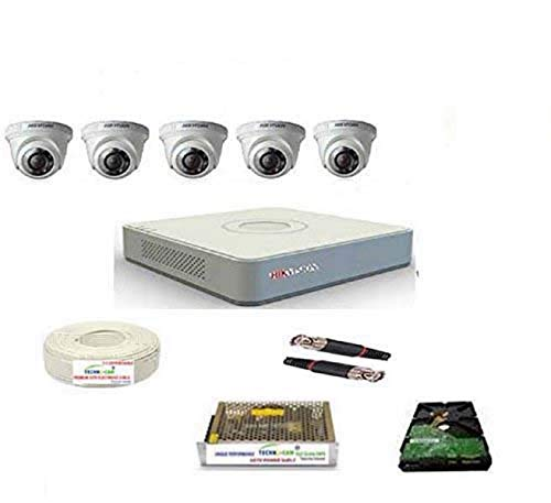HIKVISION Full HD 2MP Cameras Combo KIT 8CH HD DVR + 5 Dome Cameras+1TB Hard DISC+ Wire ROLL +Supply & All Required CONNECTORS