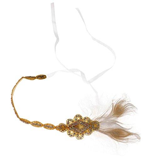 1920s Bandeau Applique Strass Plume Headpiece de Mariage Déguisement