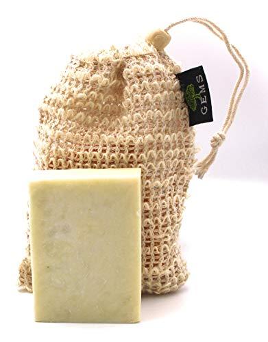 GEMS Mandelseife, Pflegeseife, Naturseife, Bio, Handgemacht, Naturprodukt ca. 140g, Keine Chemikalien, Traditionell, Mandelöl empfohlen bei trockener Haut und Haar, mit Sisal Seifensäckchen