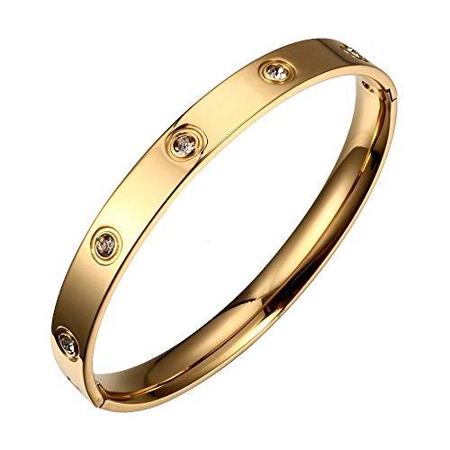 Liebes-Armband, Titanstahl mit Kristallen, goldfarben