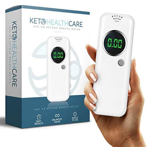 KetoHC Premium Ketone Breath Meter Kit with X6 Reusable Mouthpieces, Instant Accurate Ketosis Test Results Within Seconds, Monitor Your Progress