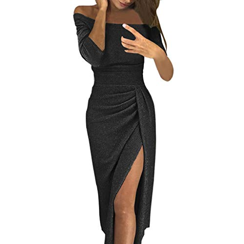 SHOBDW Vestidos Mujer Hombro Sólido Delgado Atractivo de Alta Hendidura Bodycon Lápiz Vintage Tallas Grandes de Manga Larga para Mujer Fiesta de Noche Vestidos de cóctel