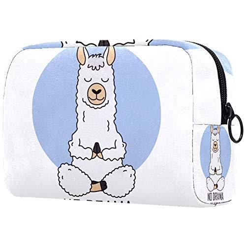Neceser de Maquillaje Estuche Escolar para Cosméticos Bolsa de Aseo Grande Cute Alpaca Llama Do Yoga Animal