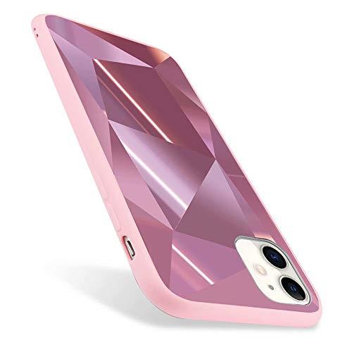 ROSEHUI Kompatibel mit iPhone 12 Mini Handyhülle Diamant 3D Geometrische Muster Stylish Glänzend Ultradünn Silikon Spiegel SchutzhülleRosa