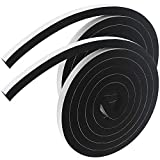CYUaoao Cinta adhesiva de espuma de 4 m, 12 mm de ancho, banda de sellado adhesivo de baja densidad, color negro, 2 rollos de 2 m de largo, cada total 4 m de largo para puerta de ventana