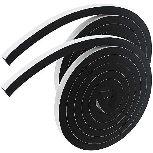 CYUaoao 2 Rollos Cinta de Espuma para Sellar Ventanas 2m Cinta Adhesiva de Espuma Resistente a la Intemperie 12*12mm Burlete de Goma para Ventanas Puerta Anticolisión a Prueba de Sonido Polvo