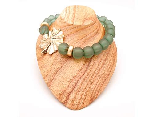 Collares De Bisutería para Mujeres - Estilo Gargantilla De Bolas o Perlas con Preciosa Flor - Calidad Española (Verde)