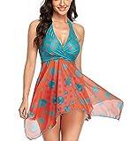 Womens Two Piece Swimsuits Tankini Top Set Mesh Swimdress Printed Swimwear Bathing Suits Medium