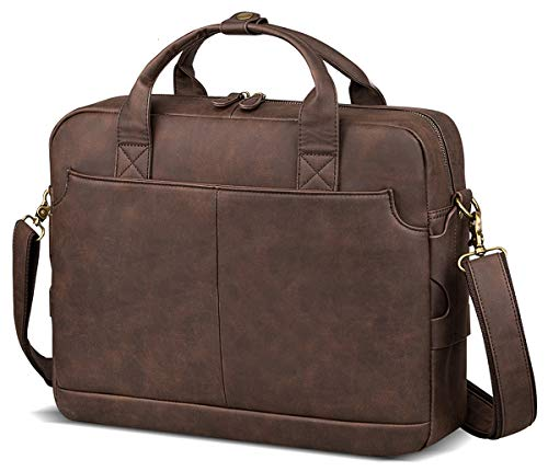 Leather Briefcases for Men Laptop Briefcase 15.6 Inch Travel Business Messenger Bag for Men Computer Bag Retro Waterproof Brown