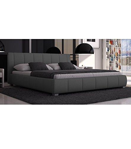 SEDEX Bett Luna 180x200cm Doppelbett/Polsterbett/Kunstleder - grau