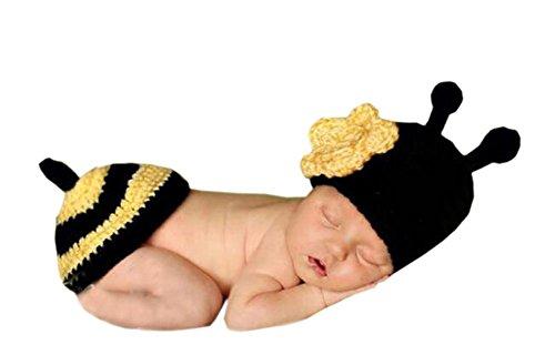 DELEY Unisexe Bébé au Crochet Fleur de Miel d'abeille Costume de Bébé de Vêtements Tenue de Photo Accessoires de 0 à 6 Mois