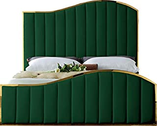 Meridian Furniture JolieGreen-K Jolie Collection Modern | Contemporary Velvet Upholstered Bed With Channel Tufting, And Polished Gold Metal Frame, Green, King (B082PKG67J) | Amazon price tracker / tracking, Amazon price history charts, Amazon price watches, Amazon price drop alerts