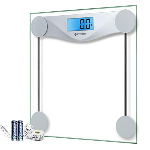 Etekcity Digital Body Weight Bathroom Scale with Body Tape Measure, Large Blue LCD Backlight...