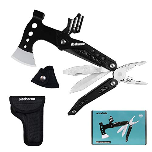 Slashome Multitool Survival Tools Axe with Knife Pliers Screwdriver Bottle Opener Ideal Christmas Birthday Gift Camping Gear Equipment Hunting Fishing for Men Boyfriend Husband Dad