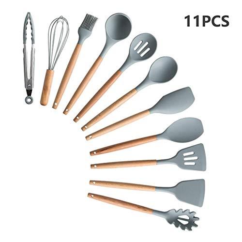 9/11/12/13 Ustensiles de cuisine en silicone poignée en bois Set de cuisine Outils de cuisine Ensembles Accessoires avec la boîte en acier inoxydable Stockage (Color : GRAY 11PCS)
