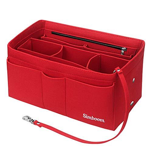 Simboom Taschenorganizer für Handtaschen, Filz Taschen Organisator Innentaschen Tote Organizer Handtaschenordner Organizer mit Schlüsselkette und Kabelbinder für Frauen, Rot/M