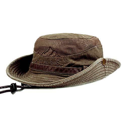 KeepSa Sun Hat for Men, Cotton Embroidery Summer Outdoor Sun Protection Wide Brim Bucket Hat...