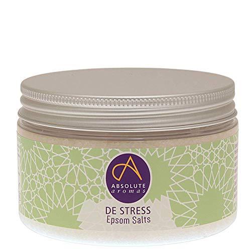 Absolute Aromas Sels de Bain Epsom De-Stress Anti-Stress 300g - Sulfate de Magnésium Infusé d'Huiles Essentielles Pures à 100% - Huiles de Bergamote,