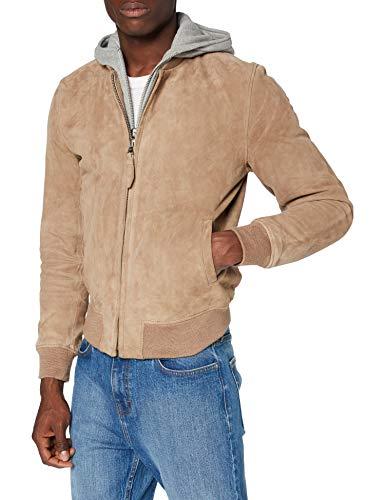 Schott nyc LCASPEN Leather Jacket, Dark Beige, Medium Mens