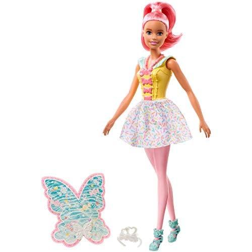 Barbie Dreamtopia Bambola Tema Caramelle Colorate con Capelli e Ali Rosa, Giocattolo per Bambini 3 + Anni FXT03