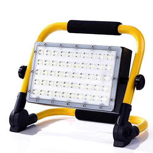 MOZC Baustrahler LED 3500LM 50W Arbeitsleuchte, IP65 Wasserdichte Flutlichter Eingebauter Akku, für Draußen und Drinnen, für Werkstatt Baustelle Garage Hof Garten, 6000K Tageslichtweiß (50 LEDs)