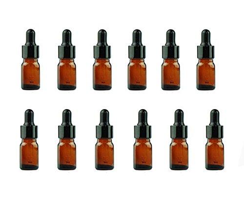 Botellas de cristal de 5ml de ámbar para maquillaje y cosméticos con tapón de ojos de cristal para uso en aceites esenciales y aromaterapia