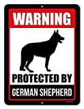 Vivityobert Beware Of Dog Sign Warning Protected By German Shepherd Funny Dog Signs Metal Warning Signs Hazard Novelty Safety Caution Noitce Sign 8x12