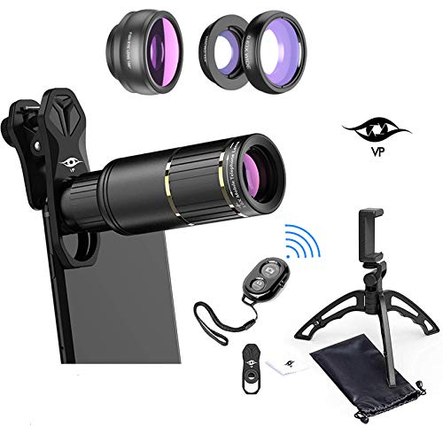 ViewPoint Phone Camera Lens Phone Lens Kit [Upgraded 2020] 16X Zoom Lens Telescope Telephoto - Wide Angle - Macro - Fisheye - Clip On Lenses for iPhone - Samsung - Pixel - Android - Bluetooth Remote