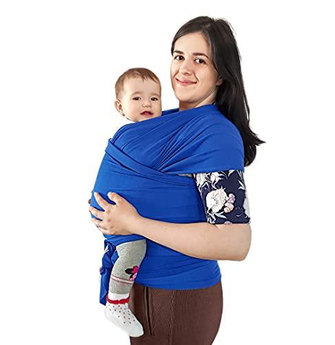 BabyChamp Babytragetuch für Neugeborene aus 95% Natürlicher Bio Baumwolle in Blau   Elastische Kleinkindtrage (Ohne Binden)