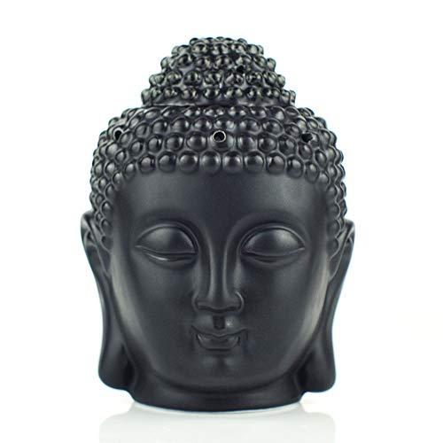 Joyfulbid Duftlampe im Buddha-Kopf-Design, Keramik, hohl, Aromatherapie, Ofen, Öl-Kerzenbrenner für Yoga oder Meditationsraum, für Yoga, Pilates, 10 x 15 cm Schwarz